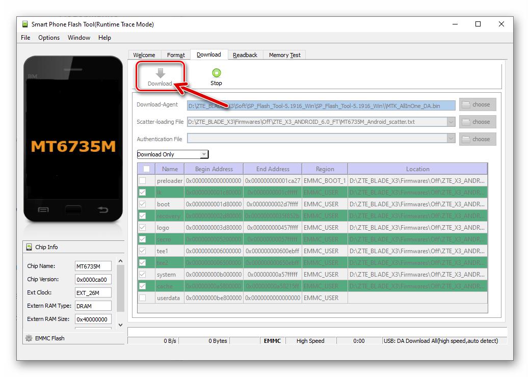 ZTE Blade X3 SP Flash Tool кнопка Download в окне приложения для начала прошивки аппарата