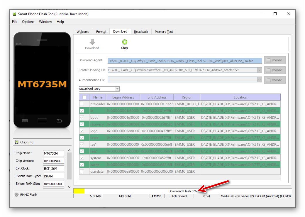 ZTE Blade X3 SP Flash Tool процесс прошивки аппарата через приложение начался