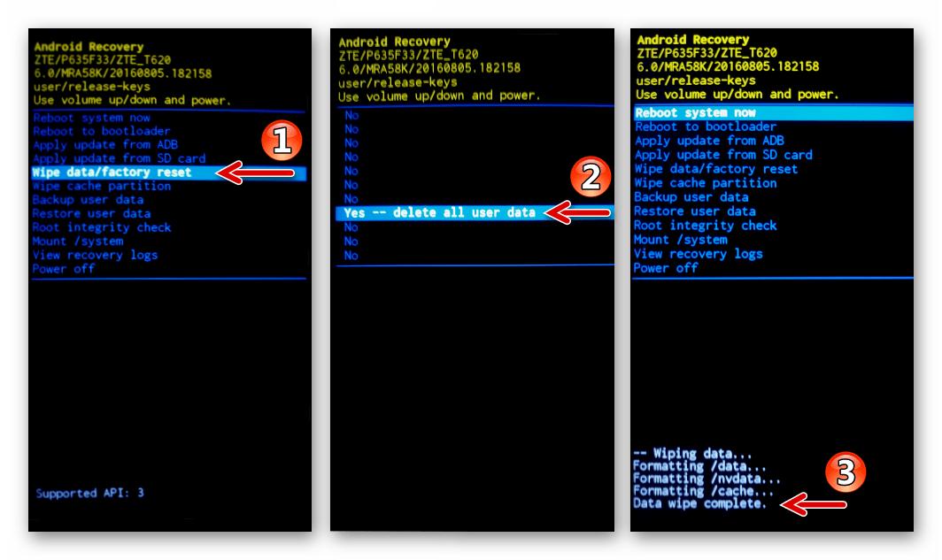 ZTE Blade X3 очистка памяти и сброс настроек через заводское рекавери после прошивки с помощью Flash Tool