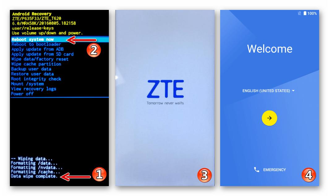 ZTE Blade X3 перезагрузка в Android после сброса через заводское рекавери