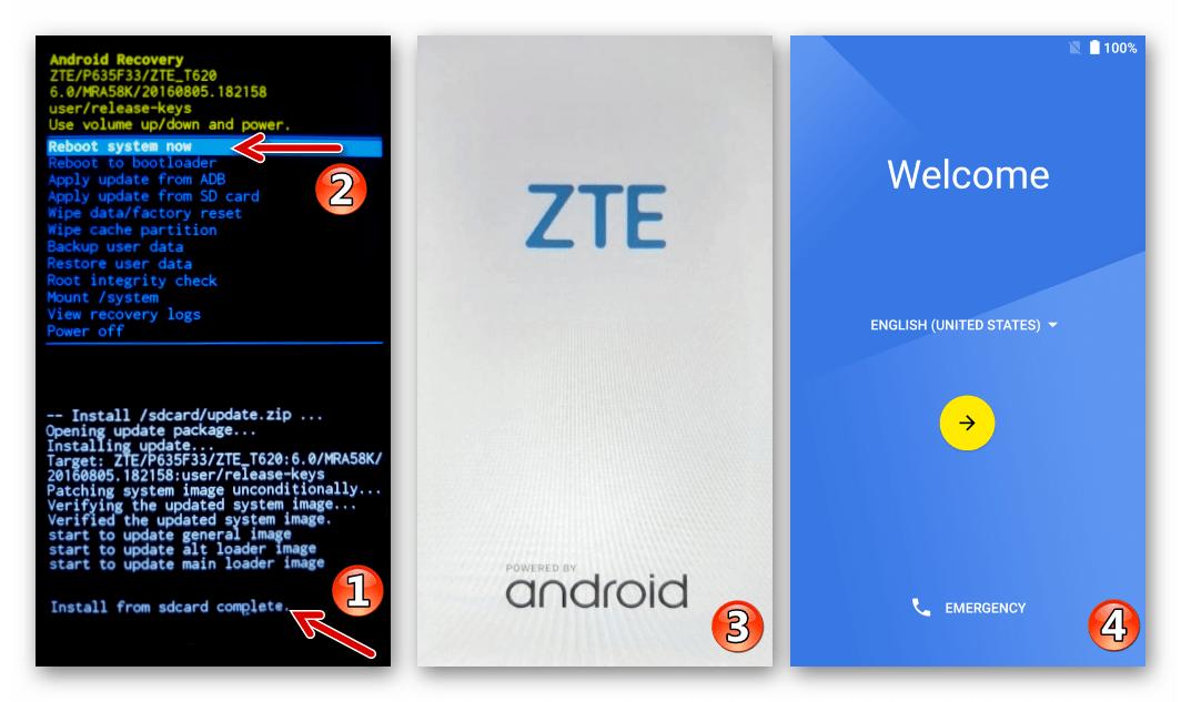 ZTE Blade X3 перезапуск в Андроид после прошивки через заводское рекавери