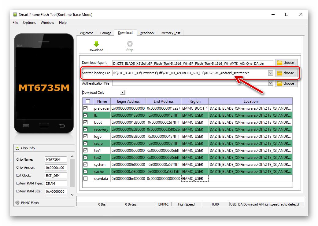 ZTE Blade X3 прошивка через SP Flash Tool - загрузка скаттер-файла в приложение