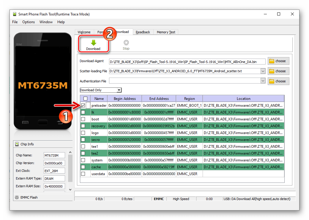 ZTE Blade X3 прошивка прелоадера в окирпиченный смартфон через SP Flash Tool