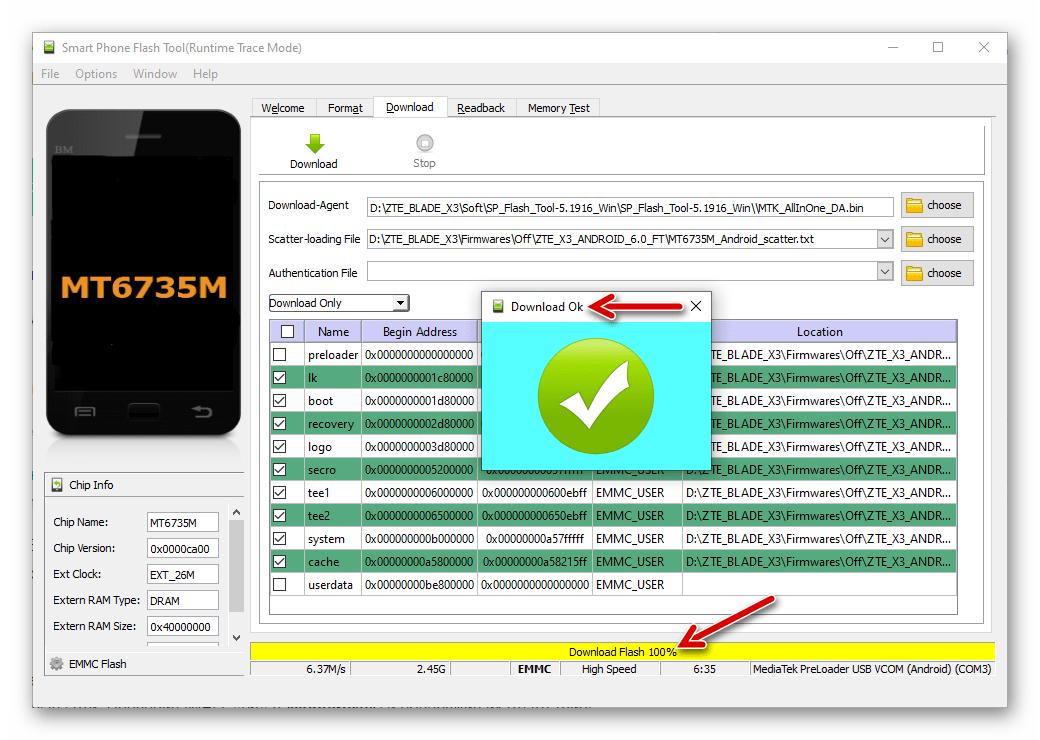 ZTE Blade X3 прошивка смартфона через SP Flash Tool завершена