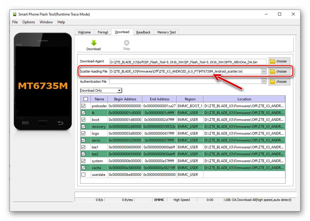 ZTE Blade X3 восстановление NVRAM из бэкапа через SP Flash Tool - загрузка скаттера установленной прошивки